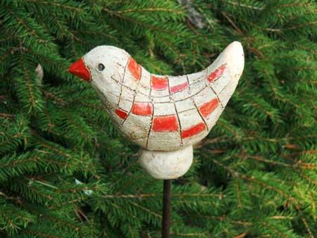 vogel stele rot natur dekoration für den garten  - NR: 134 VERKAUFT