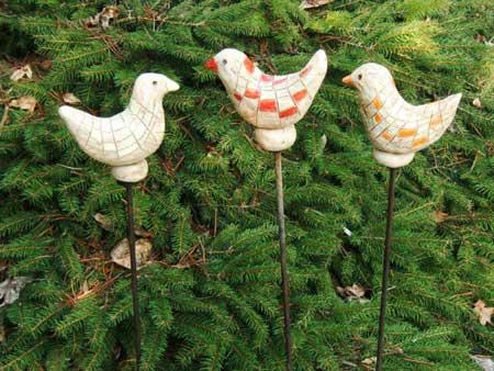 keramik vogel stelen gartendeko  - NR: 135