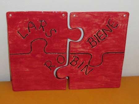 puzzle namensschild aus ton - NR: 149 - VERKAUFT