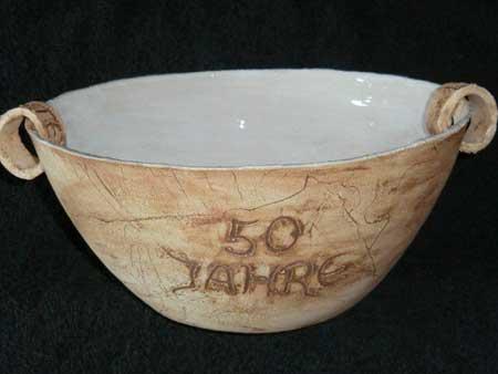Keramik Schale mit 2 beweglichen Ringen - NR: 152