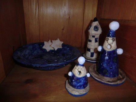 Plätzchenteller, Räucherturm, Räuchermann Keramik bzw. Ton Weihnachtsdekoration - NR: 155