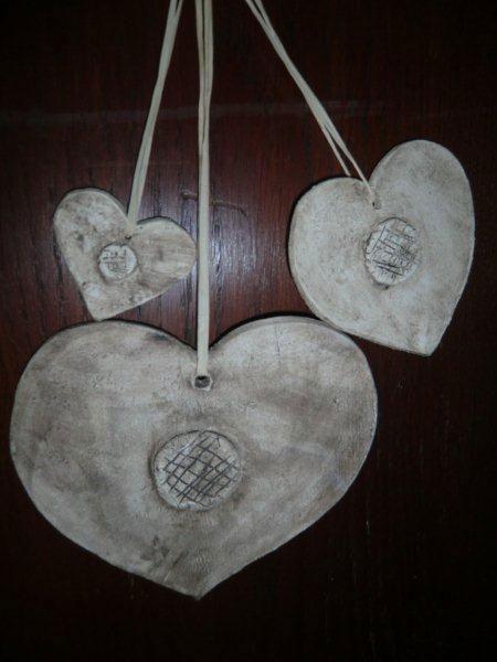 Herzen aus Ton - handgemachter  Baumschmuck - NR: 160