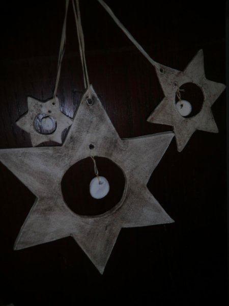 Stern aus Keramik  - handgemachter  Baumschmuck aus Ton - NR: 161