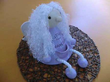 Keramik Puppe Namensgeschenke als Schutzengel mit Engelshaar - NR: 175 - VERKAUFT