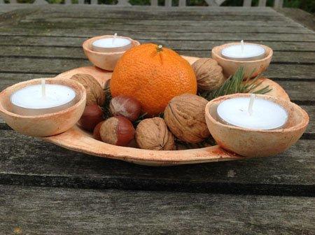 keramik adventsschale natur