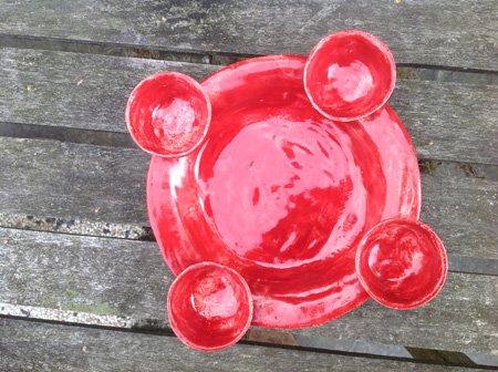 kleiner Adventskranz in Rot aus Keramik