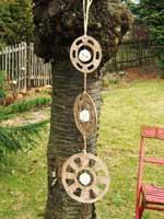 garten dekoration / windspiel aus ton in natur - NR: 136 - VERKAUFT